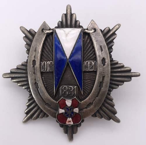 19th Wolynski Lancers Regiment breast badge