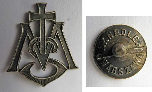 Help needed to identify miniature (10mm) badge by J. Knedler of Warsaw?