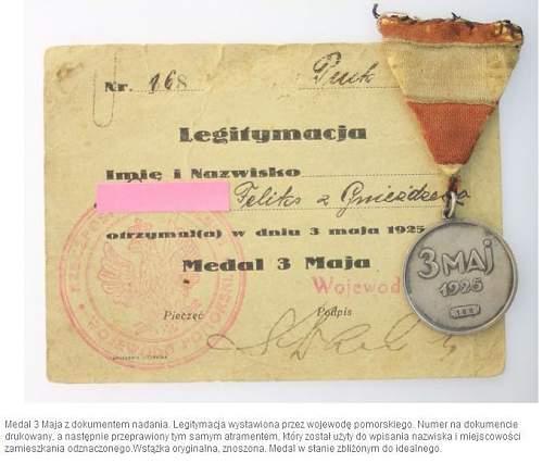 Click image for larger version.  Name:Medal 3 Maja z dokumentem nadania 1600zl.jpg Views:114 Size:58.5 KB ID:170765