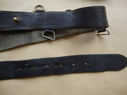 wz.36 Officer's Belt with Cross Strap with BM and Maker's Markings on Buckle