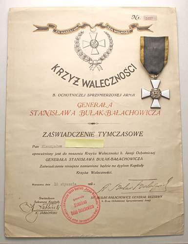 Click image for larger version.  Name:Krzyż Bułak-Bałachowicza z dyplomem 8000zl (4).jpg Views:154 Size:48.6 KB ID:289929
