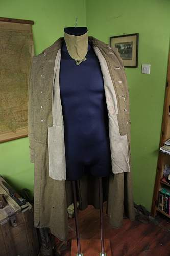 Wz.36 Polish NCO's Greatcoat with interesting red pre-war dated ink stampings - 100% original pre-war ?