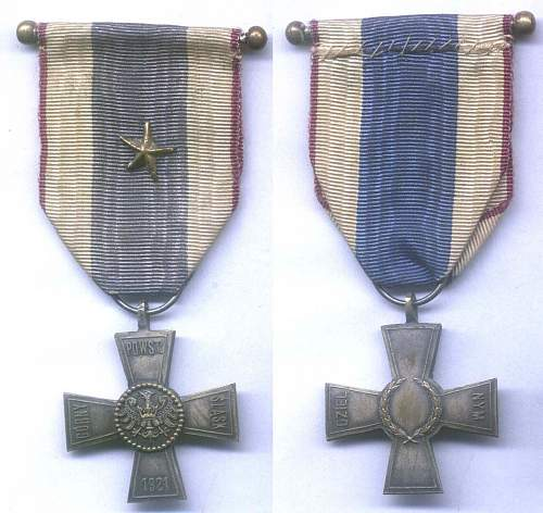 Click image for larger version.  Name:Cross on Silesian Ribbon of Valor and Merit with star on ribbon.jpg Views:185 Size:219.5 KB ID:533216