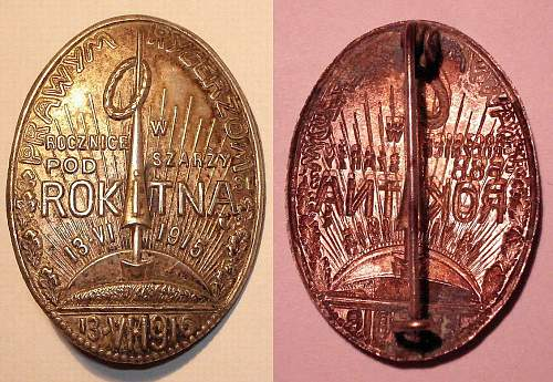 A variation of the Battle of Rokitna commemorative badge
