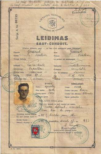 Click image for larger version.  Name:1940 Lithuanian Sauf-conduit-  PALESTINE. a.jpg Views:174 Size:186.6 KB ID:587307