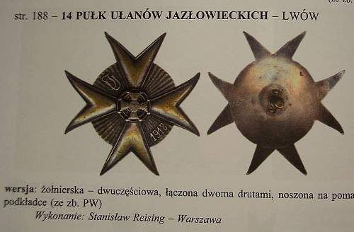 Odd WWI Polish Lancer Badge with design papers