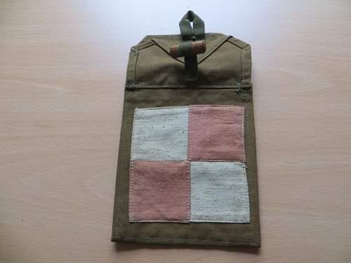 Prewar Polish Airforce Radio Operator Khaki map pouch ? signed K Kirjacki,Crowned Eagle stamp  X, Z, one  in each wing 1937, Checkerboard Airforce emblem 100% original prewar,please ?