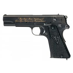 An extremely interesting 1936 dated Poliish Vis Pistol presented to General Tadeausz Kasprzycki, Serial Number 0034, one of the earliest ever made