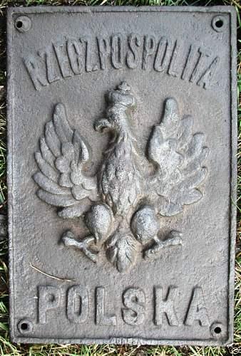 Polish border plaque/sign - taken by the Germans as a souvenir in 1939 - 100% original ?