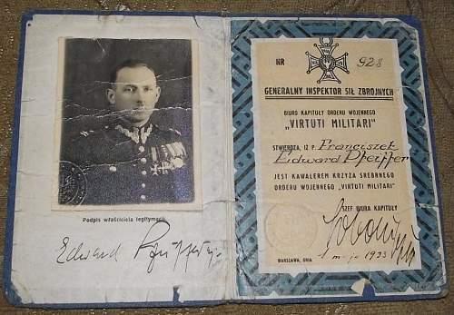 Click image for larger version.  Name:General Brygady Franciszek Edward Pfeiffer VM Legit Nr 928.jpg Views:87 Size:177.3 KB ID:895042