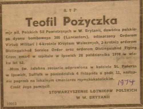 Click image for larger version.  Name:Teofil Pozyczka Death Notice 1974.jpg Views:37 Size:172.8 KB ID:960647