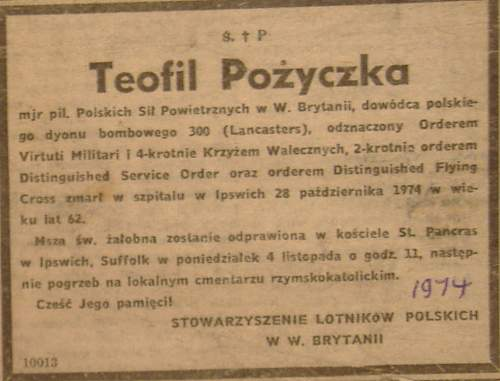 Click image for larger version.  Name:Teofil Pozyczka Death Notice 1974.jpg Views:51 Size:172.8 KB ID:960647