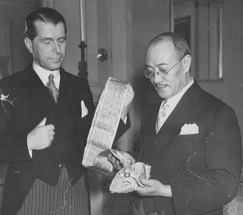 Click image for larger version.  Name:Washington DC 2  Sept 1938 Amb Jerzy Potocki presents Chinanese Amb Zhengtug Wang with OOP Grand.jpg Views:17 Size:152.9 KB ID:970880