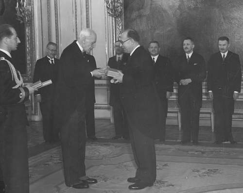 Click image for larger version.  Name:13th Feb 1937 Warsaw Professor Kazimierz Bartel receiving the OOP Grand Cross from President Mos.jpg Views:70 Size:116.1 KB ID:971482
