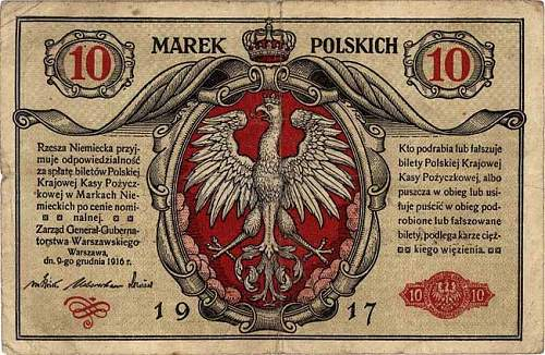 Click image for larger version.  Name:Polish_banknote_from_1917_-_10_Marek_Polskich.jpg Views:22 Size:85.8 KB ID:973243
