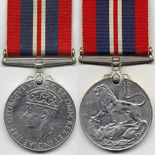 Click image for larger version.  Name:British 1939 1945 War Medal obv and rev.jpg Views:4 Size:143.0 KB ID:1000790