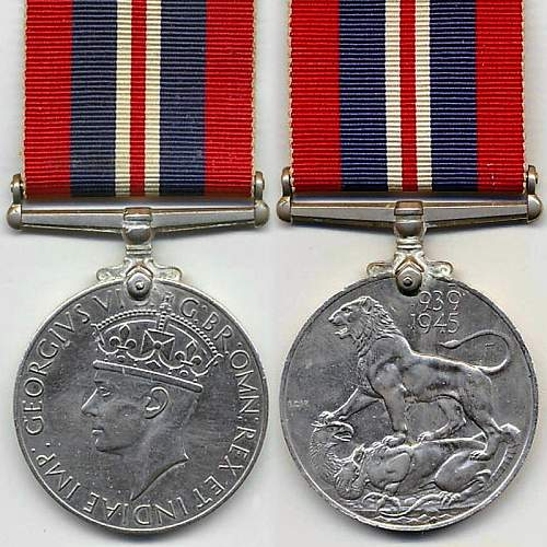 Click image for larger version.  Name:British 1939 1945 War Medal obv and rev.jpg Views:78 Size:143.0 KB ID:1000790