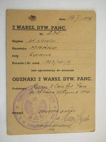 2 nd Warsaw Armored Division Badge