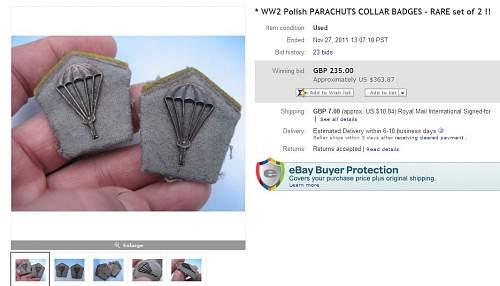 Click image for larger version.  Name:WW2 Polish PARACHUTS COLLAR BADGES - RARE set of 2... (120814812988).jpg Views:218 Size:76.6 KB ID:270686