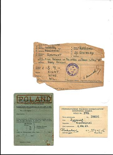 Click image for larger version.  Name:KOZLOWSKI GRIMSBY LAST PAY LICENSE AND SOLDIERS  REGISTRATION CARD.jpg Views:104 Size:250.8 KB ID:318266
