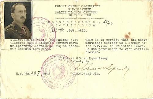 A nice war time Polish army ID - 1942