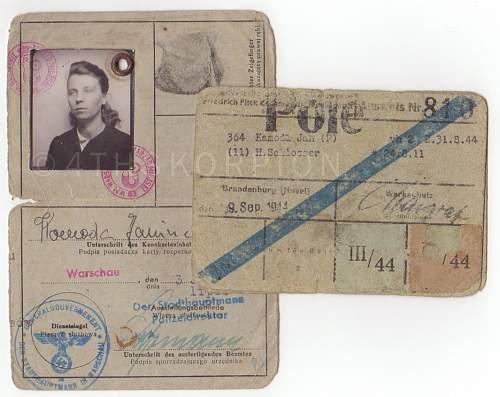 Polish Forced Labour (Zwangsarbeiter/Fremdarbeiter) collection
