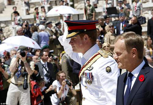 Click image for larger version.  Name:Prince Harry after laying his wreath.jpg Views:90 Size:151.3 KB ID:691089