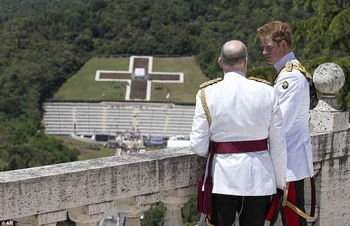 Click image for larger version.  Name:Prince Harry with his ADC looking at the Polish Cemetery from the Abbey.jpg Views:414 Size:153.1 KB ID:691090