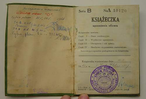 Free Polish Officers paybook.