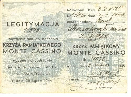 Click image for larger version.  Name:Legitymacja Krzyż Monte Cassino2.jpg Views:145 Size:234.3 KB ID:766938