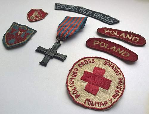 Monte Cassino cross & award plus group - uniform patches, Italy Star, 1939-1945 Star, Defence Medal