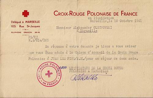 A set of papers used to escape France to the UK