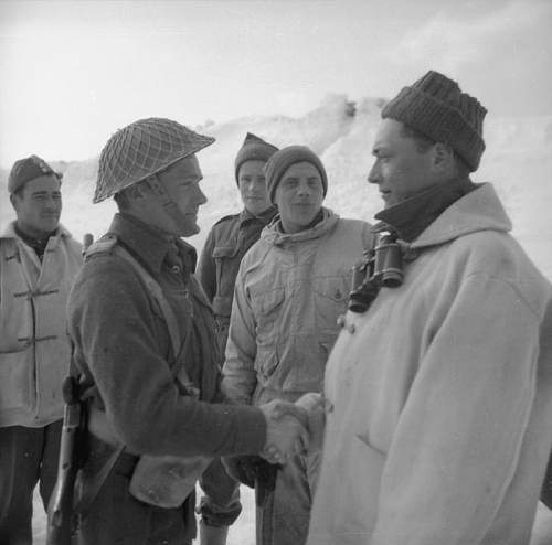 Click image for larger version.  Name:14th Feb 1944 Sierz Meczain Kuczeun leader of the Mule train greeted by Kpr Pchor Michal Krzyszk.jpg Views:157 Size:61.3 KB ID:937015
