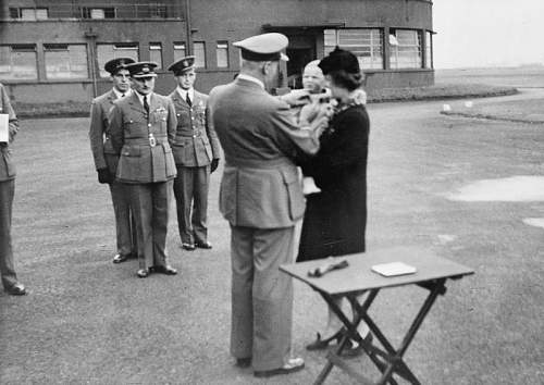 Click image for larger version.  Name:RAF Grangemouth 21st September 1942 Marian Edward Belc receives his late fathers DFC.jpg Views:40 Size:73.8 KB ID:995616