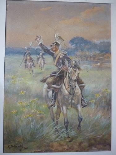 painting aquarel of Polish lancers in open field by Kazimierz Pulaski (1861-1947).