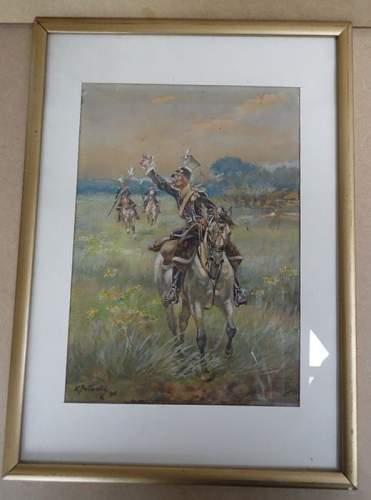 painting aquarel of Polish lancers in open field by Kazimierz Pulaski (1861-1947).