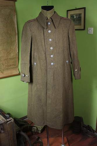Wz.36 Original Polish St. Sierż. (Starszy Sierżant)  greatcoat with clear red pre-war dated ink stampings