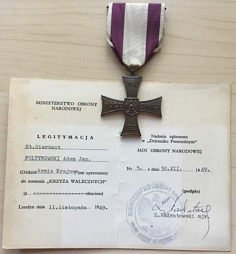 "Staff Sergeant Feltynowski, AK, KW, fought in Warsaw Uprising.  ""Zubry ""  (Bisons)"