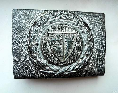The BUCKLE of the FIRE POLICE OF the province of Schleswig-Holstein