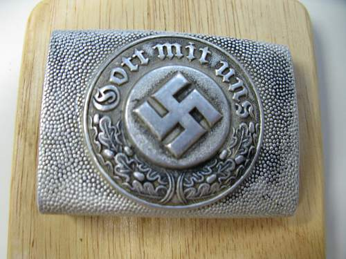 Recently purchased Early SS Police/Enlisted Man Pebbled Aluminum Belt Buckle!