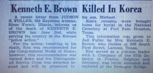 WWII Vet KIA in Korea