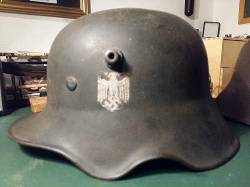 German m18 ear cut out relic helmet number