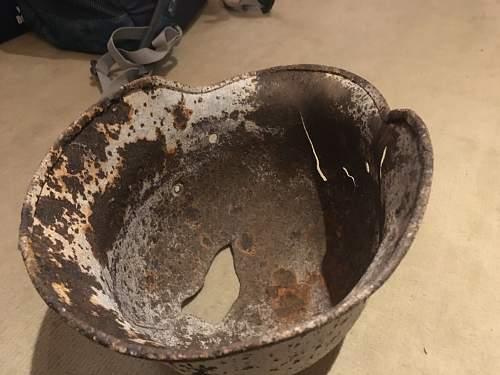 Battle damaged white wash Q62 M40 shell
