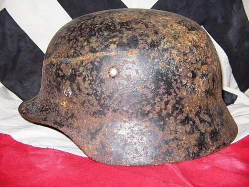My German WWII relic helmet collection