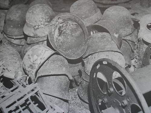 German helmets sealed up in a german tunnel in Jersey, Channel Islands.