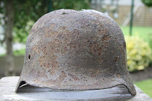 DD m40 police helmet ground find