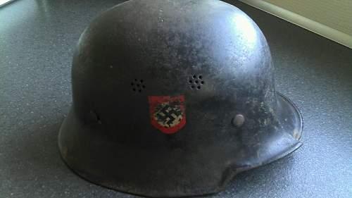 M34 Feuerschutzpolizei helmet - big A stamp?