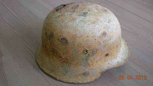 Sniper kill shot german relic helmet - from my collection