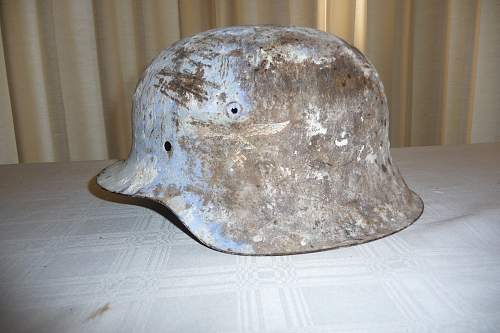 M42 LUFTWAFFE Single-Decal / White & Blue SNOW CAMO Helmet - Comments / Evaluation Appreciated
