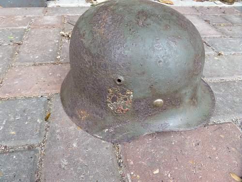 2x German army helmets Lapland found